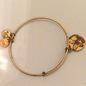Alex and ani gold bracelet lke new HOLLY CHARM HTF
